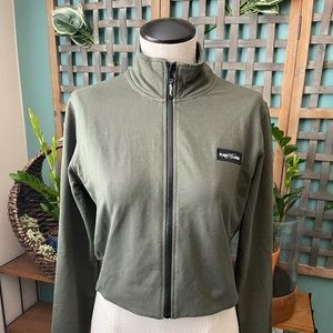 Olive green flag nor fail crop workout hoodie M